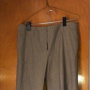Sand colored linen pants, tab button waist.